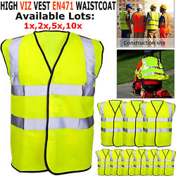 Hi Vis Safety Reflective Vest Waistcoat High Visibility Fluorescent Yellow Lot S