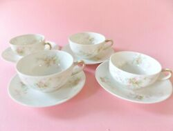 Four Theodore Haviland Limoges France Cups And Saucers Princess Var Pink Flowers