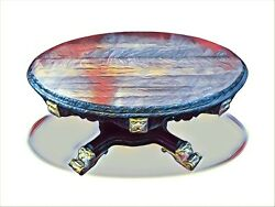 Amazing Antique William Iv Oak Carved Table Pro Hand French Polished And Gilded