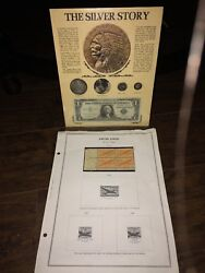 The Silver Story Framed Coin Set Dollar Flakes Nickel Dime Certificate