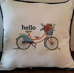 SUNBRELLA Hello with Bicycle Pillow in White