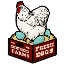 Chicken Fresh Eggs Food and Drink Custom Metal Shape - Victory Vintage Signs