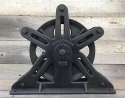 Rare Antique Hollinger No.12 Cast Iron Elevator / Factory Ceiling-mount Pulley