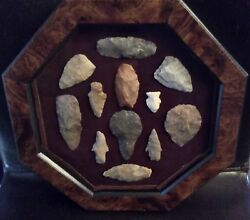 Native American Chipped Stone Tool Artifacts From Texas Display