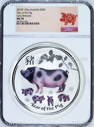2019 Australia Lunar Year Of The Pig 1 Kilo Gemstone Silver 30 Coin Ngc Ms 70