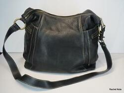 Fossil Large Black Pebbled Leather Shoulder Bag Handbag Convertible Purse