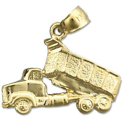 New Real Solid 14k Gold Dump Truck Charm Pendant