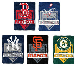 Mlb Home Plate Raschel Throw Supersized Supersoft Royal Plush Blanket 60 X 80