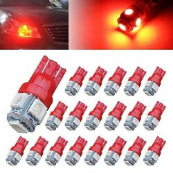 100Pcs Red T10 5SMD LED Light Bulbs Auto Wedge Side License W5W 194 168 192 Lamp