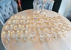 GLASS SAINT LOUIS MODEL THISTLE GOLD 37 PARTS NEW 12 WATER 12 WINE 12 CHAMPAGNE