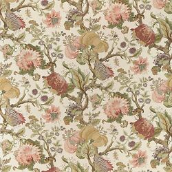 Colefax And Fowler Jacobean Tree Of Life Linen Fabric 10 Yards Pink Amber Honey