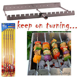 14 Skewer Automatic Rotating Stainless Steel Rack W/ Usb Port For Gas Grills