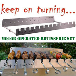Rotisserie Kit For Bbq Grill W/ Usb Motor Operated Rotator For Up To 13 Skewers
