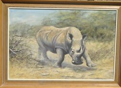 Painting British Artist Kim Brooks White African Rhino