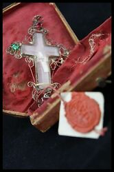 Anddagger Dnjc True Cross Relic Double Crystal Cross Sterling Reliquary Wax Seal + Caseanddagger