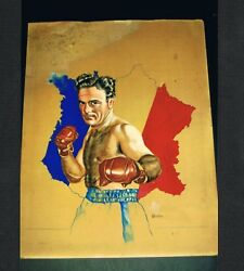One Of A Kind Marcel Cerdan Artwork By Stanley Weston Boxing 1949 Ring Magazine