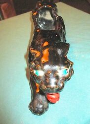1950's BLACK PANTHER CERAMIC PLANTER WITH GOLD STRIPES