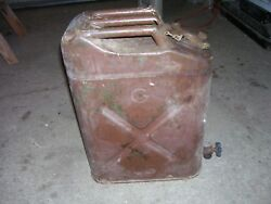 Vintage1952 Five Gallon US Military Jerry Fuel Can With bottom pouring Spicket.