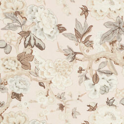 Schumacher English Country Cabbage Roses Blooms And Birds Fabric 10 Yards Blush