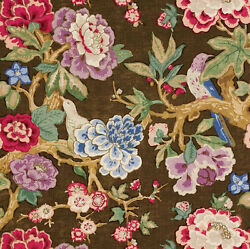 Schumacher English Country Cabbage Roses Blooms And Birds Fabric 10 Yards Brown