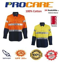 100 X Hi Vis Work Shirt Vented Cotton Drill 3m Tape Procare Long Sleeves