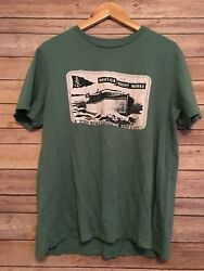 Nautica Green Yacht Graphic T-shirt Mens Small Graphic Tee On Front