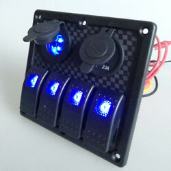 USB 4 Gang Waterproof Toggle Automotive Switch Panel LED Car Marine Boat Rocker