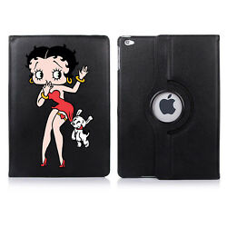 Betty Boop And Dog Cartoon 360 Rotating Case Cover Stand For Apple Ipad