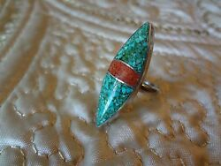 Native American Navaho Sterling Silver Ring--size-6--