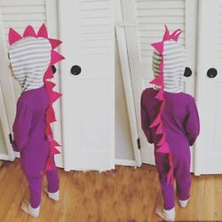 Cute Baby Toddler Dinosaur Modeling Long Sleeve Cotton Hooded Romper Clothing