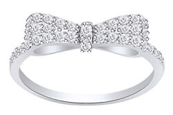 925 Sterling Silver Women's Clear Cz Ribbon Bow Promise Ring Size 5 To 12 New