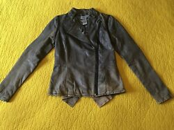 Anthropologie Paige Northwick Distressed Leather Grey Taupe Moto Jacket M Vest