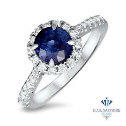 Certified 1.82ct Natural Round Blue Sapphire Ring W/ Diamonds In 18k White Gold