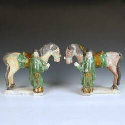 Rare Chinese Antique Ming Horse Rider Equestrian Figures Painted Pottery China