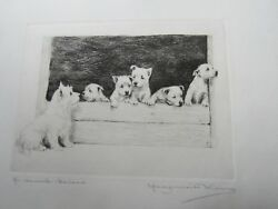 Kirmse pencil signed Etching of West Highland Terriers - Ma Bonnie Bairns - dog