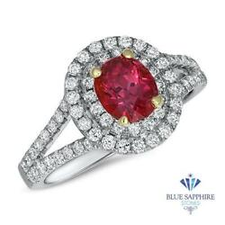 Certified 1.49ct Oval Natural Ruby Ring With Diamond Halo In 18k White Gold