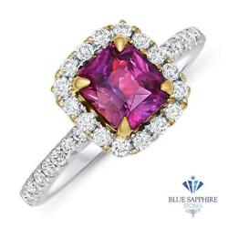 Certified 1.60ct Cushion Natural Ruby Ring With Diamond Halo In 18k White Gold