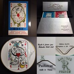 1967 Original DALI Art Exhibition Litho Poster • Playing Cards • Limoges Plates