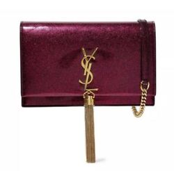 Saint Laurent Chain Wallet Monogram Kate New Chain Glitter Tassel Red Leather