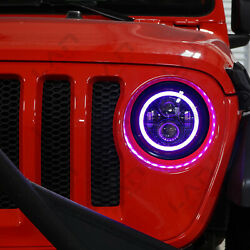 🔥 2x LED Headlamp RGB Color Halo Projector Angel Eye For Jeep JL 2018 2019