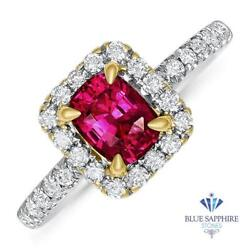 Certified 1.11ct Cushion Natural Ruby Ring With Diamond Halo In 18k White Gold