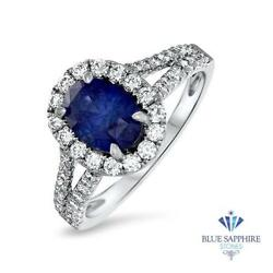 Certified 2.05ct Oval Natural Blue Sapphire Ring W/ Diamonds In 18k White Gold