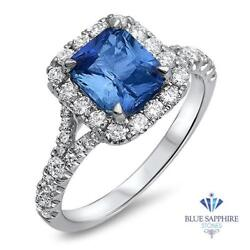 Certified 1.74ct Natural Blue Sapphire Ring With Diamond Halo In 18k White Gold