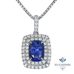 Certified 2.35ct Cushion Blue Sapphire Pendant With Diamonds In 18k White Gold