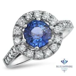 Certified 1.46ct Round Natural Blue Sapphire Ring W/ Diamonds In 14k White Gold