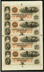 1800and039s Frankfort Ky- Farmers Bank Of Kentucky Colorful Uncut Sheet