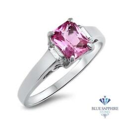 Certified 1.76ct Natural Pink Sapphire Ring W/ Diamond Accents In 18k White Gold