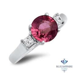 Certified 2.26ct Round Natural Pink Sapphire Ring W/ Diamonds In 18k White Gold