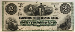 1862 Greensborough Maryland- Farmers And Merchants Bank 2 Colorful Obsolete