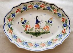 Old Antique Quimper Tradition Peasant Large Scalloped Plater 1918-42